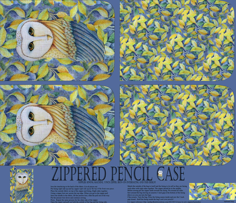 A zippered owl pencil case fabric by vo_aka_virginiao on Spoonflower - custom fabric