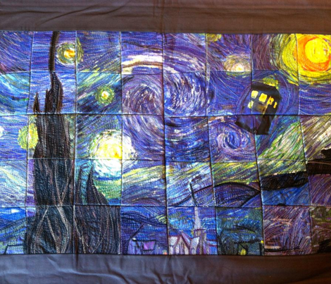 Starry Tardis Night Cheater Quilt