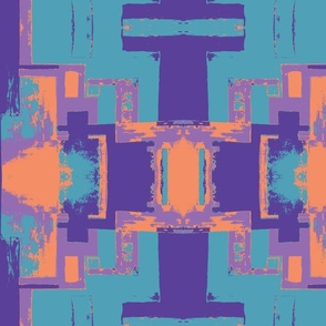 Purple Orange and Turquoise Tribal