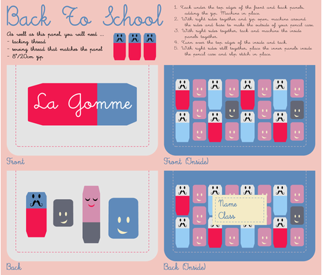 'La Gomme' Pencil Case Kit fabric by giddystuff on Spoonflower - custom fabric