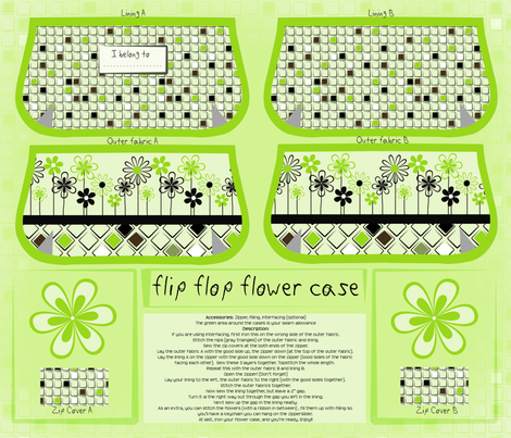 cut and sew flip flop flower case fabric by ellila on Spoonflower - custom fabric