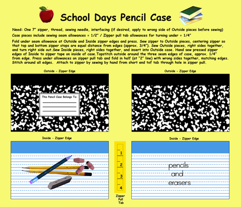 School Days Pencil Case fabric by mbsterling on Spoonflower - custom fabric