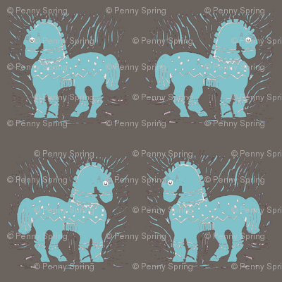 Aqua/Blue Ponies on warm gray