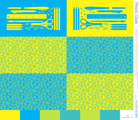 cut & sew pencil case (cyan + yellow) fabric by muchoxoxo on Spoonflower - custom fabric