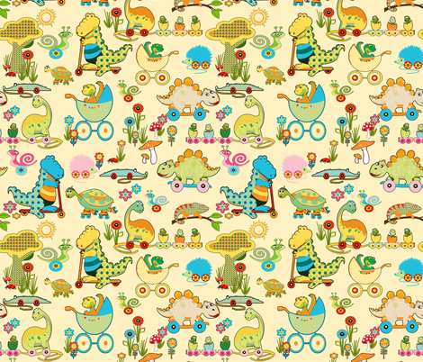 Dinos Kindergarden /  In Pastell fabric by mariskadesign on Spoonflower - custom fabric