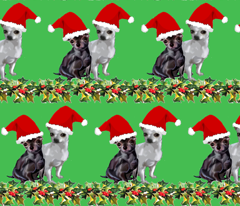Chihuahua Christmas fabric fabric by dogdaze_ on Spoonflower - custom fabric