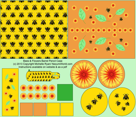 Bees 'n' Flowers Barrel shaped pencil case fabric by nezumiworld on Spoonflower - custom fabric
