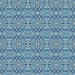 Swirly Blue Delft horizontal stripe