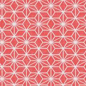 Pearls in a hemp leaf pattern on soft red
