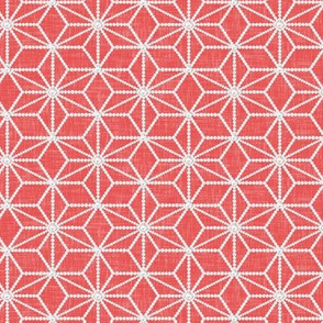 Pearls in a hemp leaf pattern on soft red by Su_G