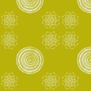 Floral Pouf Circles Olive