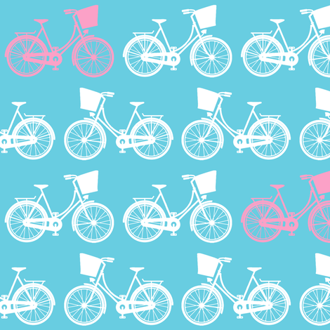 Dutch Bicycles on Blue fabric by lovelyjubbly on Spoonflower - custom fabric