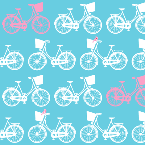 BicycleBasicRepeatColourswithBird fabric by lovelyjubbly on Spoonflower - custom fabric