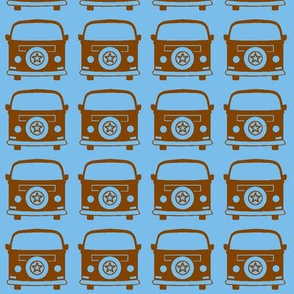 camper brown blue