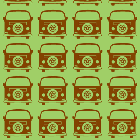 camper brown green fabric by weebeastiecreations on Spoonflower - custom fabric