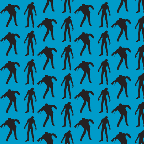 Blue silhouette of the walking dead fabric by threadandthimble on Spoonflower - custom fabric