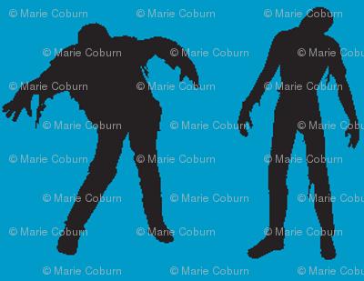 Blue silhouette of the walking dead