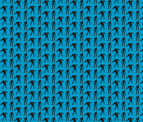 Blue silhouette of the walking dead fabric by thedrunkengnome on Spoonflower - custom fabric