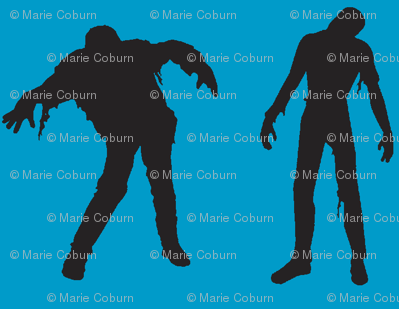 Large Silhouette of the Walking Dead-blue
