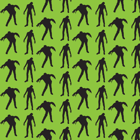 Green silhouette of the walking dead fabric by thedrunkengnome on Spoonflower - custom fabric