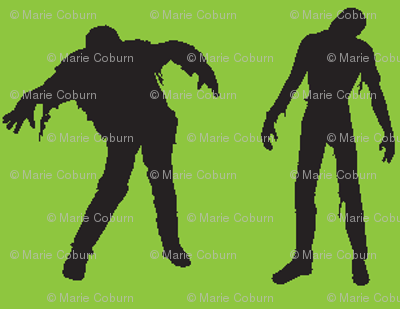 Green silhouette of the walking dead