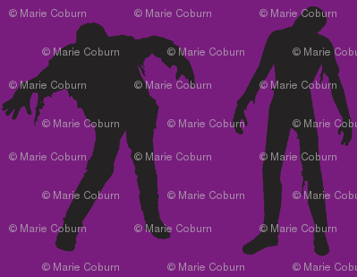 Purple Large silhouette of the walking dead