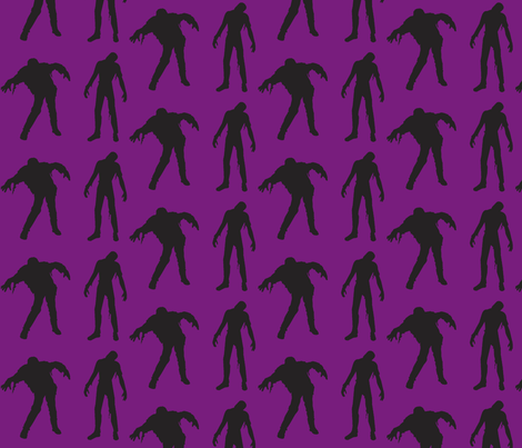Purple Large silhouette of the walking dead fabric by thedrunkengnome on Spoonflower - custom fabric