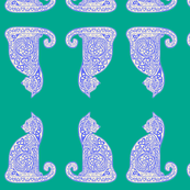 celtic cat 8 delft on teal