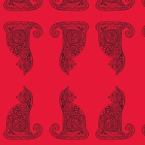 celtic cat 8 black on red