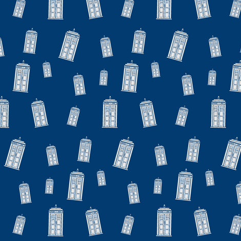 TARDIS Blue Collage fabric by richellefast on Spoonflower - custom fabric