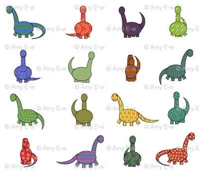 patterned dinosaurs (in white)