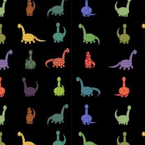 patterned dinosaurs in black