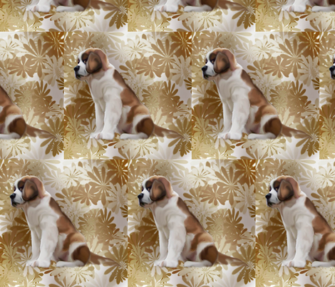 Saint Bernard puppy floral fabric by dogdaze_ on Spoonflower - custom fabric