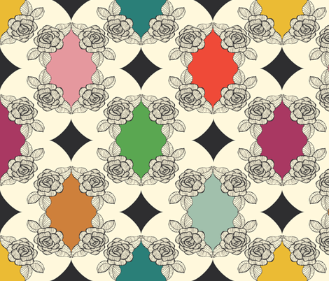 Moroccan Rose Motif fabric by michellenilson on Spoonflower - custom fabric