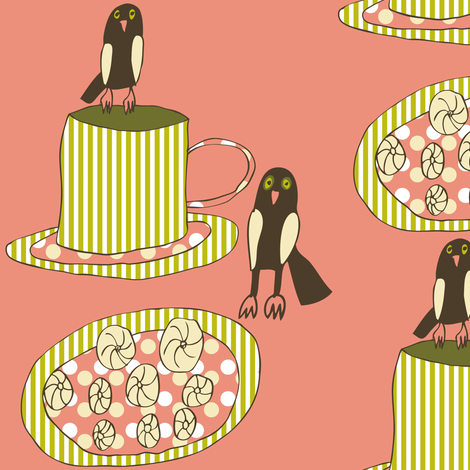 Little Owls Drinking Tea fabric by heartfullofbirds on Spoonflower - custom fabric