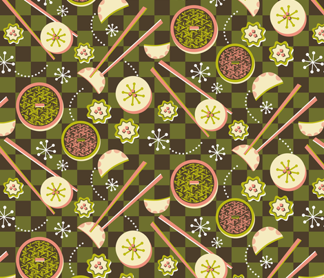 Dim Sum Checkers fabric by celiaforrester on Spoonflower - custom fabric