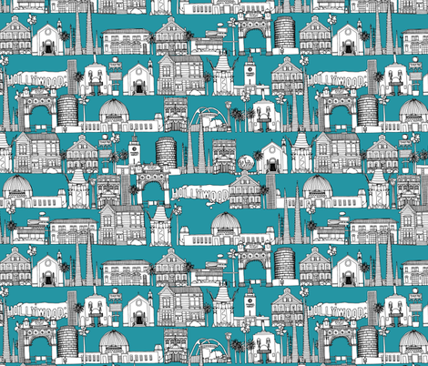 Los Angeles teal fabric by scrummy on Spoonflower - custom fabric