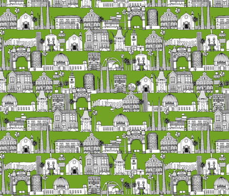 Los Angeles green fabric by scrummy on Spoonflower - custom fabric