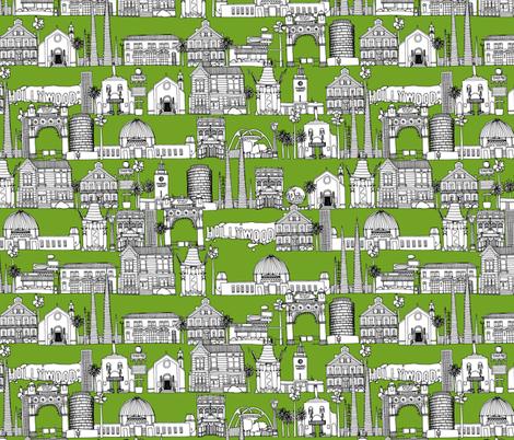Los Angeles green fabric by scrummy on Spoonflower - custom fabric