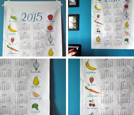 2015 tea towel calendar - frutas y verduras