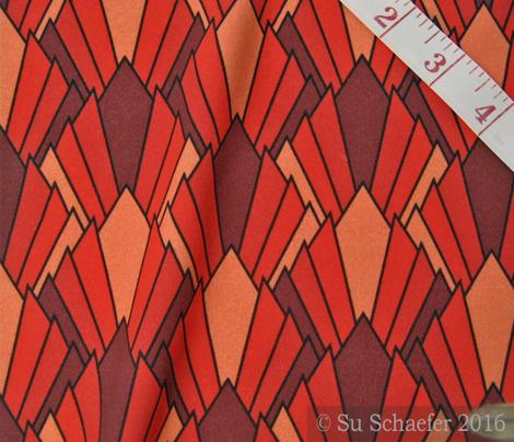 Art deco diamond fans, reds by Su_G