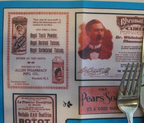 Tea Towel: Vintage Cosmetics Ads Pink
