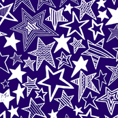 White patterned stars on purple background