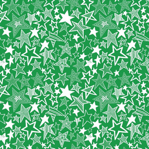 White patterned stars on green background