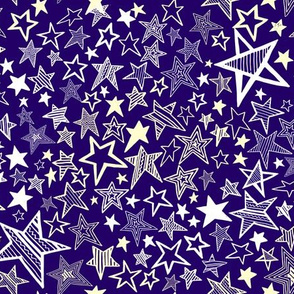Christmas Shooting Stars - White and Cream on Purple