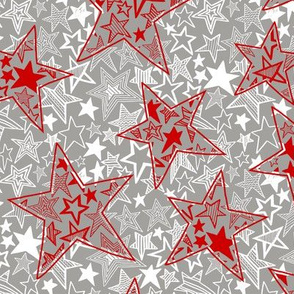 Patterned stars within stars (red, white on grey)