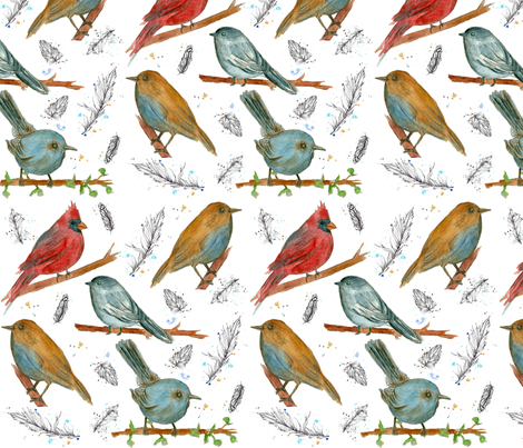 The Birds fabric by countrygarden on Spoonflower - custom fabric