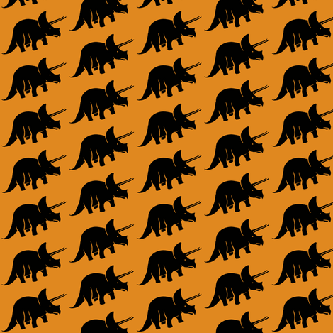 Orange Triceratops fabric by sufficiency on Spoonflower - custom fabric