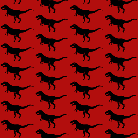 Red Tyrannosaurus fabric by sufficiency on Spoonflower - custom fabric