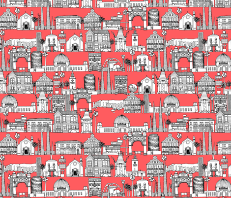 Los Angeles coral fabric by scrummy on Spoonflower - custom fabric